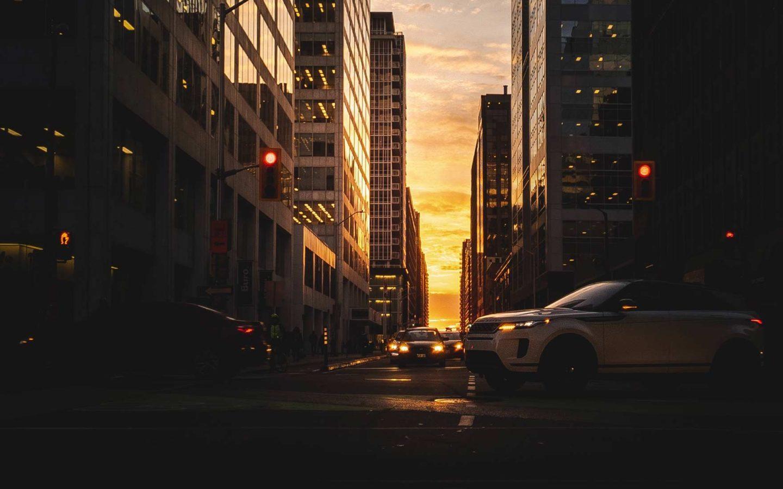 downtown ottawa street at sunset