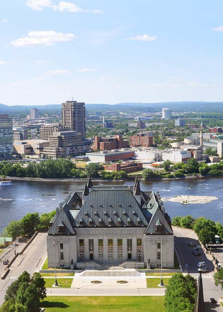 aerial view of supreme court building in ottawa ontario