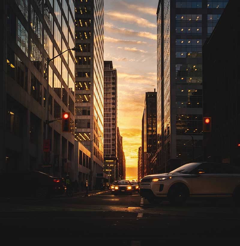 downtown ottawa street at sunset